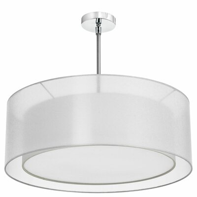 Vezina 4-Light Double Drum Pendant Finish: Polished Chrome, Shade Color: White/White