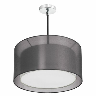 Vezina 4-Light Double Drum Pendant Finish: Satin Chrome, Shade Color: Black