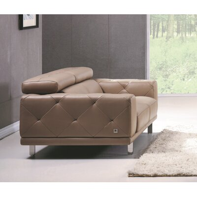 Vibbert Leather Loveseat Upholstery: Taupe