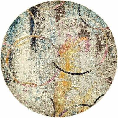 Chenango Beige/Yellow Area Rug Rug Size: Round 8