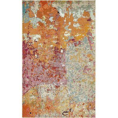 Chenango Orange/Pink Area Rug Rug Size: 5 x 8