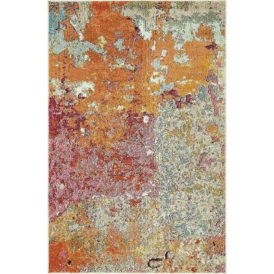 Chenango Orange/Pink Area Rug Rug Size: 4 x 6
