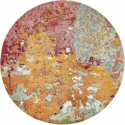 Chenango Orange/Pink Area Rug Rug Size: Round 8