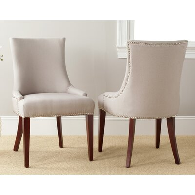 Alpha Centauri Upholstered Side Chair in Linen / Leather - Biege with Carpenter Nailheads Color: Black