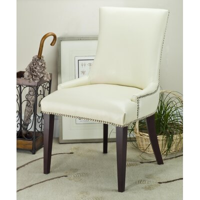 Alpha Centauri Upholstered Side Chair in Leatherette - Cream with Nickel Nailheads