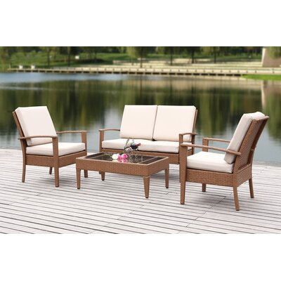 Outdoor 4 Piece Deep Seating Group with Cushions Fabric: Sand, Finish: Brown