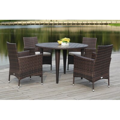 Mcgrady 5 Piece Dining Set Finish: Brown/Sand