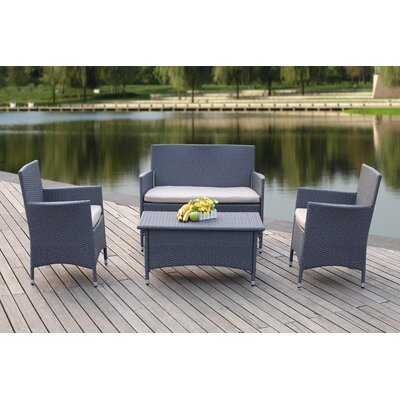 Mckeever Outdoor 4 Piece Deep Seating Group with Cushions Finish: Titanium