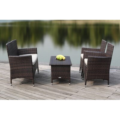 Mckeever Outdoor 4 Piece Deep Seating Group with Cushions Finish: Brown