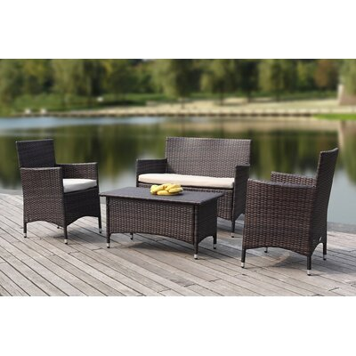 Mckeever Outdoor 4 Piece Deep Seating Group with Cushions Finish: Toasted Almond