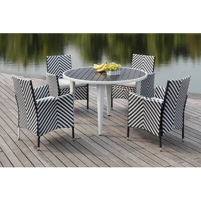 Mcgrady 5 Piece Dining Set Finish: Black / White