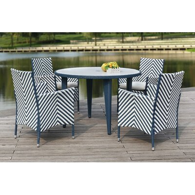 Mcgrady 5 Piece Dining Set Finish: Navy / White