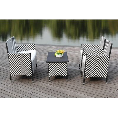Mckeever 4 Piece Deep Seating Group with Cushions Finish: Black / White