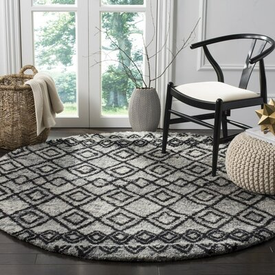 Eleftheria Hand-Tufted Gray Area Rug Rug Size: Round 6