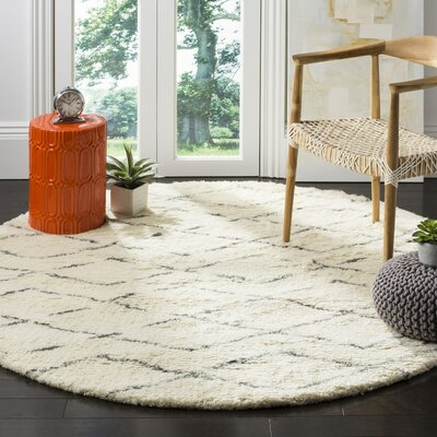 Eleftheria Hand-Tufted Beige Area Rug Rug Size: Round 6
