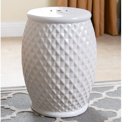 Carmon Tufted Ceramic Garden Stool Finish: White