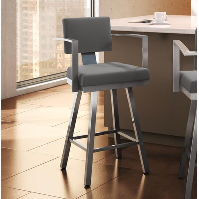 Perrotta 26.75 Swivel Bar Stool Color: Glossy Gray, Upholstery: Red Polyester