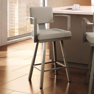 Perrotta 26.75 Swivel Bar Stool Upholstery: Matte Light Grey/Beige
