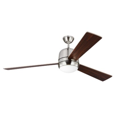60 Bakos 3 Blade Ceiling Fan with Remote Finish: Brushed Steel
