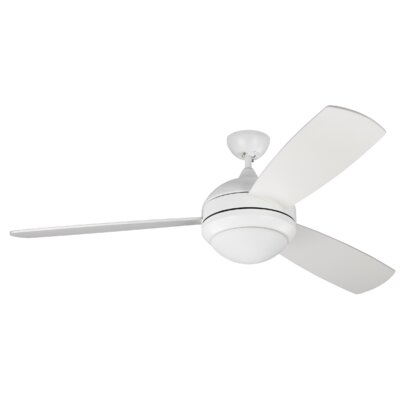58 Carreon 3 Blades Ceiling Fan with Remote Finish: Rubberized White