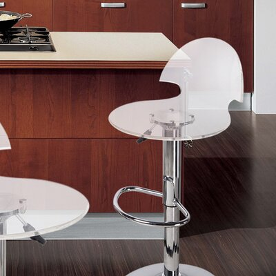 Stanhope Contemporary Adjustable Height Swivel Bar Stool Upholstery: Clear