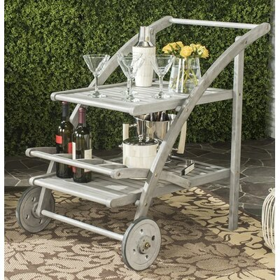 Mathes Tea Serving Cart Finish: Grey Wash/Beige