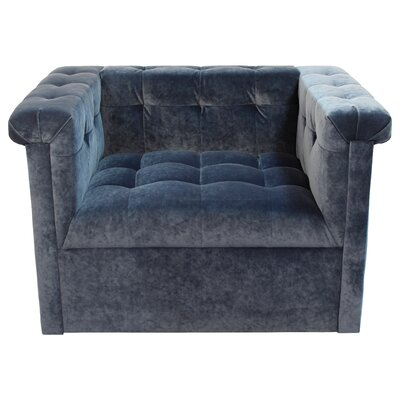 Capehart Swivel Velvet Armchair Color: Banks Denim