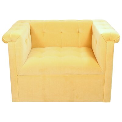 Capehart Swivel Velvet Armchair Color: Lemon