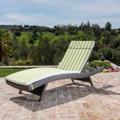 Dery Wicker  Chaise Lounge with Cushion Fabric: Green/White