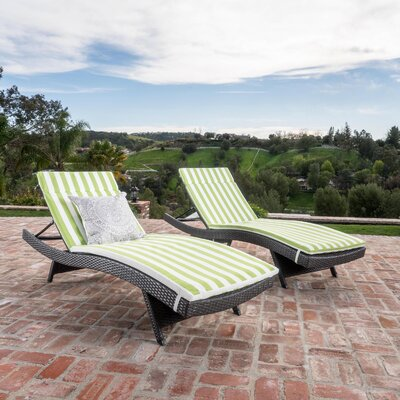 Chantrell Wicker Chaise Lounges with Cushion Fabric: Green/White