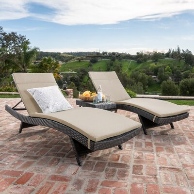 Dery Wicker Chaise Lounge with Cushion and Table Fabric: Textured Beige, Finish: Gray