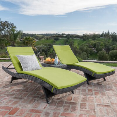 Chantrell Wicker Chaise Lounge with Cushion and Table Fabric: Bright Green, Finish: Gray