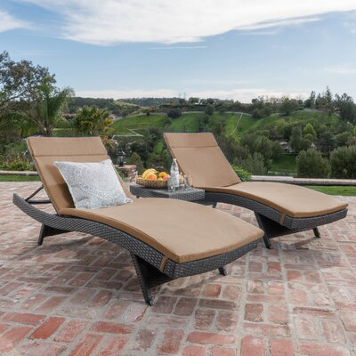 Dery Wicker Chaise Lounge with Cushion and Table Fabric: Caramel, Finish: Gray