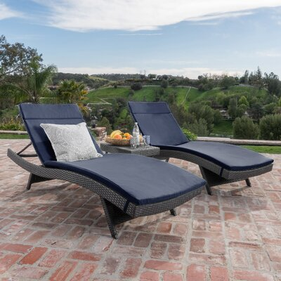 Chantrell Wicker Chaise Lounge with Cushion and Table Fabric: Navy Blue, Finish: Gray
