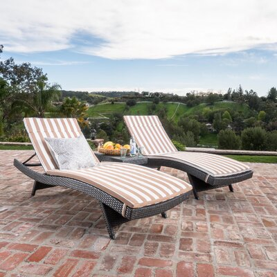 Chantrell Wicker Chaise Lounge with Cushion and Table Fabric: Brown/White Striped, Finish: Gray