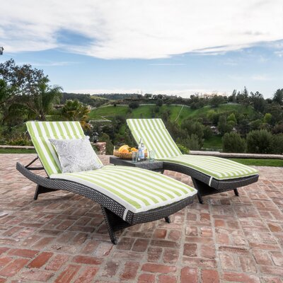 Chantrell Wicker Chaise Lounge with Cushion and Table Fabric: Green/White Striped, Finish: Gray