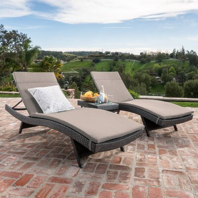 Dery Wicker Chaise Lounge with Cushion and Table Fabric: Charcoal, Finish: Gray