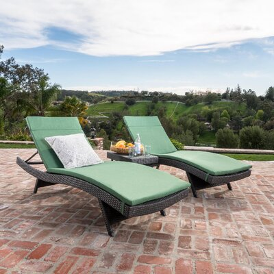 Chantrell Wicker Chaise Lounge with Cushion and Table Fabric: Jungle Green, Finish: Gray