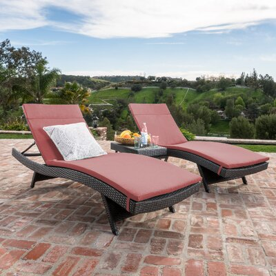 Chantrell Wicker Chaise Lounge with Cushion and Table Fabric: Red, Finish: Gray