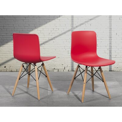 Bobbitt Solid Wood Dining Chair (Set of 4) Upholstery: Red