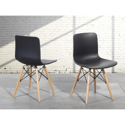 Bobbitt Solid Wood Dining Chair (Set of 4) Upholstery: Black