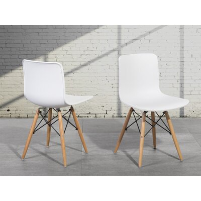 Bobbitt Solid Wood Dining Chair (Set of 4) Upholstery: White