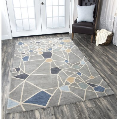 Rigoberto Hand-Tufted Gray Area Rug Rug Size: Rectangle 66 x 96