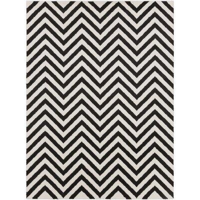 Arcuri Black/Ivory Area Rug Rug Size: 93 x 126