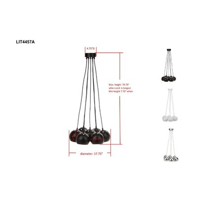 7-Light Cluster Pendant Finish: Black