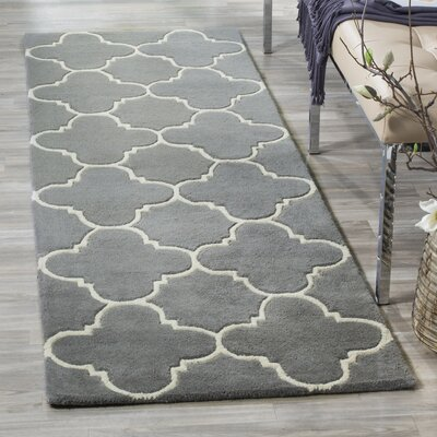 Averett Hand-Tufted Wool Dark Gray/Ivory Area Rug Rug Size: Runner 23 x 7