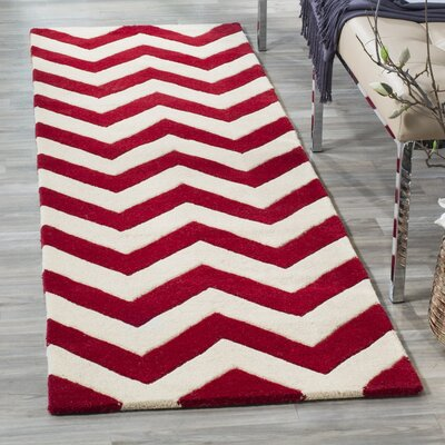 Averett Hand-Tufted Red/Ivory Area Rug Rug Size: Rectangle 7 x 7