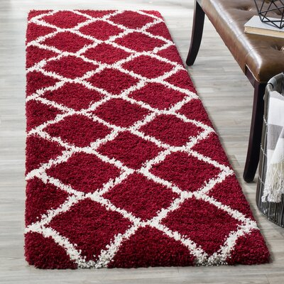 Hampstead Shag Red/White Area Rug Rug Size: Runner 23 x 8