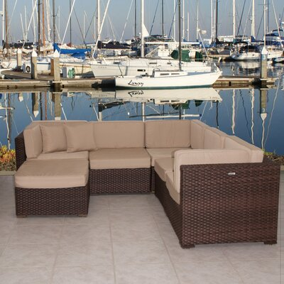 Lorentzen 6 Piece Deep Seating Group with Cushion Fabric: Deluxe Sunbrella Antique Beige