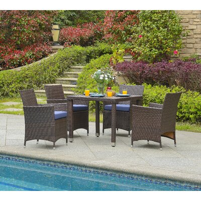 Mercer 5 Piece Outdoor Dining Set with Cushion Finish: Brown/Navy